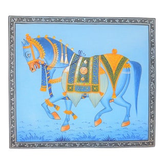 1990s Folk Art Mughal Style Indian Horse Painting $147 For Sale