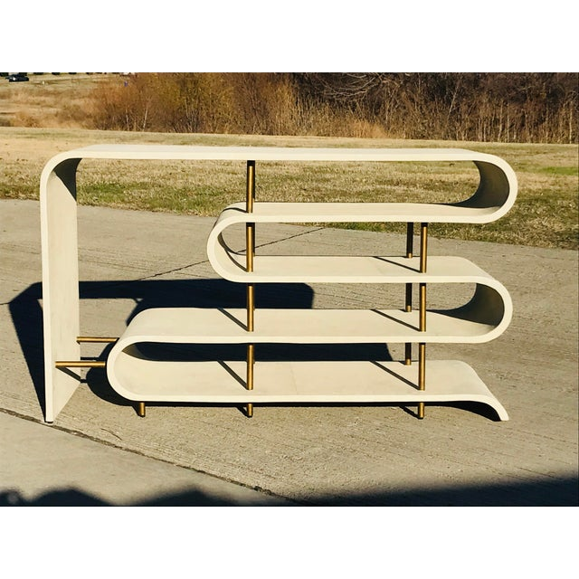 White Modern Shangreen Ribbon Brass Sculptural Console Table For Sale - Image 8 of 8
