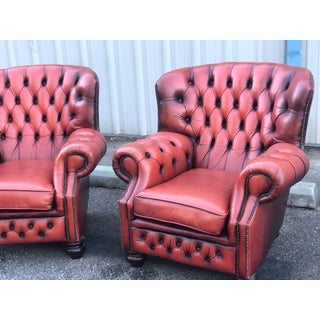 1960s Vintage Red Leather Chesterfield Lounge Chairs- a Pair Preview