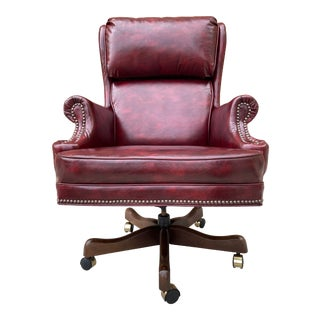 Traditional Wingback Swivel-Tilt Leather Executive Chair Hancock and Moore Style For Sale
