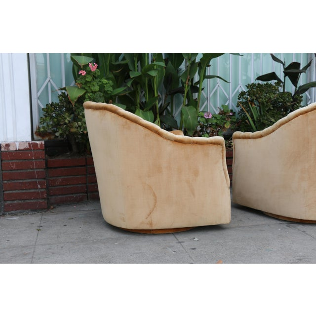 Textile Velvet Swivel Chairs - A Pair For Sale - Image 7 of 11