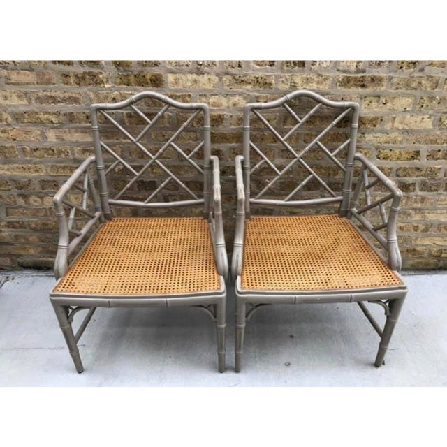 Late 20th Century Vintage Bamboo Chinoiserie Hollywood Regency Style Armchairs - a Pair For Sale - Image 5 of 6