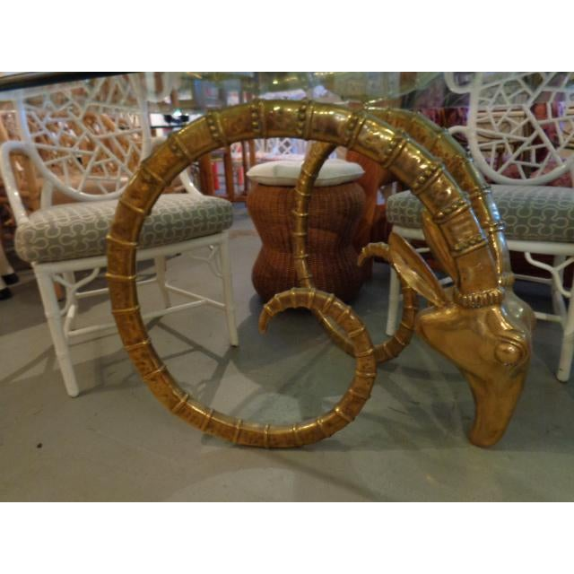 Hollywood Regency Chervet Style Brass Rams Head Ibex Dining Table - Image 3 of 6