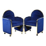 Image of Pair Design Institute America Baughman Style Brass & Blue Velvet Club Chairs For Sale
