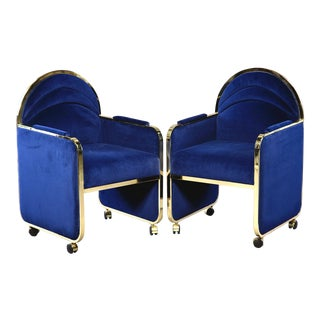 Pair Design Institute America Baughman Style Brass & Blue Velvet Club Chairs For Sale