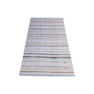 Vintage Turkish Multi-Color Handmade Flatweave Rug - 5′ × 10′1″ For Sale