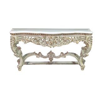 Antique Marble Top French Rococo Console Table For Sale