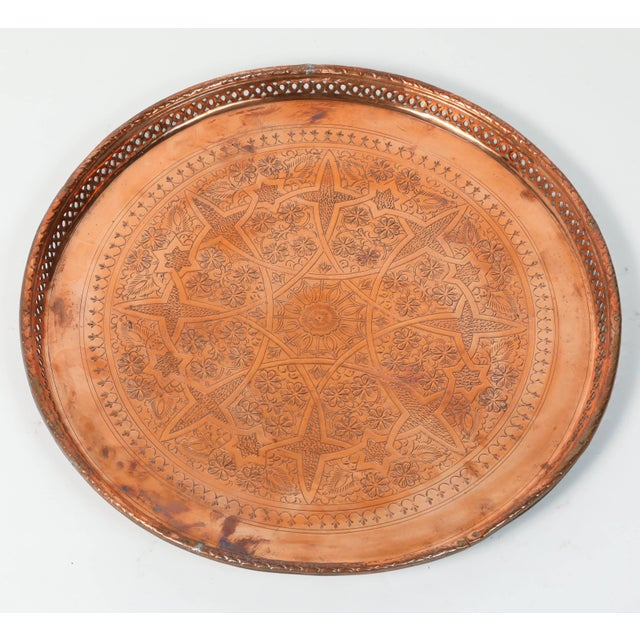 Moroccan Copper Tray Table With Folding Base For Sale - Image 10 of 11
