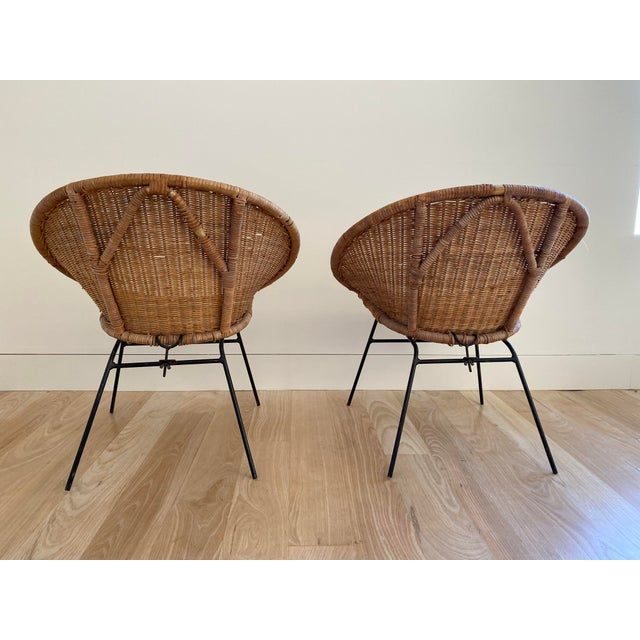 1970s 1970s French Wicker Basket Chairs - a Pair For Sale - Image 5 of 6