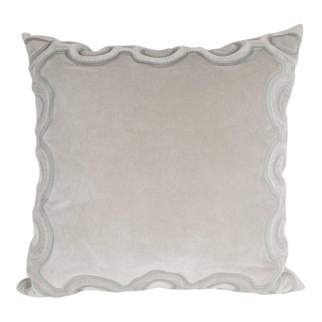 Custom Handmade Dove Gray Pillow with Embroidered Circular and Geometric Forms For Sale