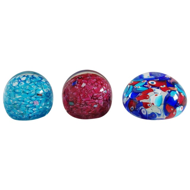 Collection of 3 Italian Murano Glass Paperweights For Sale