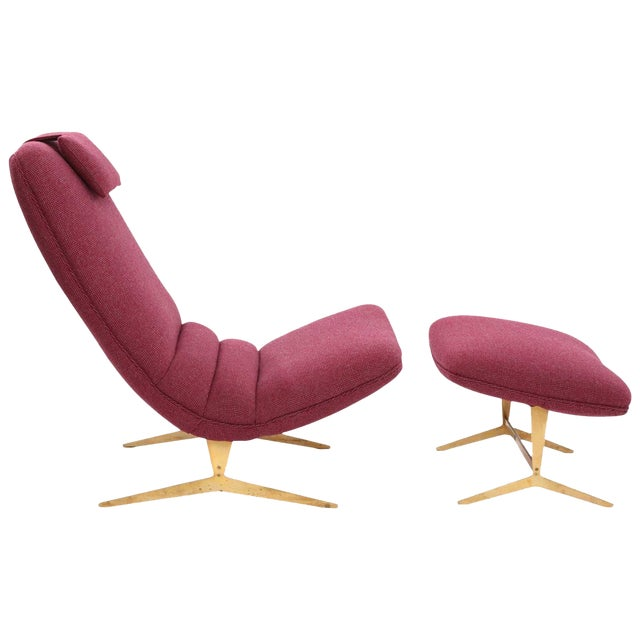 Italian Lounge Chair and Ottoman For Sale
