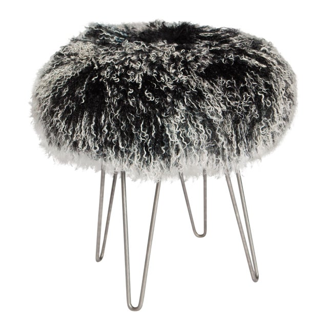 Tipped Black Curly Hairpin Stool For Sale