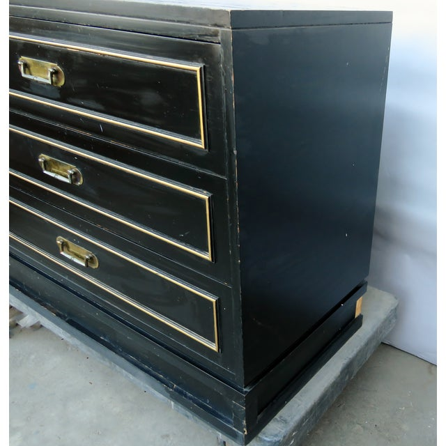 Vintage Mid-Century Black Chest of Drawers For Sale In Los Angeles - Image 6 of 9