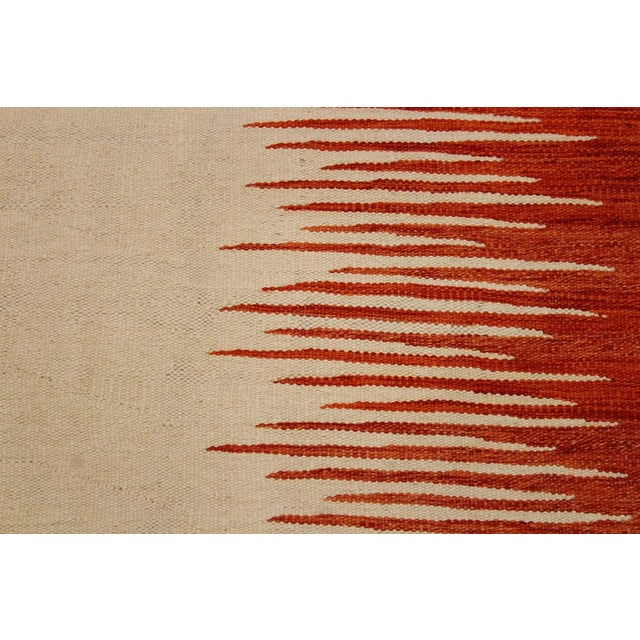 Modern Bauhaus Ardath Ivory/Rust Hand-Woven Kilim Wool Rug - 8'11 X 11'11 For Sale - Image 4 of 8