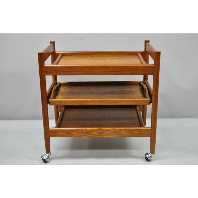 20th Century Danish Modern Dixie Teak Rolling Bar Cart For Sale - Image 11 of 12