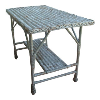 Antique Wicker Library or Dining Table Silver Gray Painted Finish For Sale