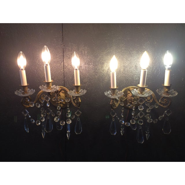 Bronze Napoleon III Bronze and Crystal Sconces - A Pair For Sale - Image 8 of 9