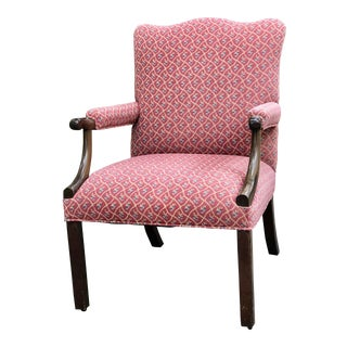 "Antique ""Gainsborough"" Style Mahogany Library Chair For Sale"
