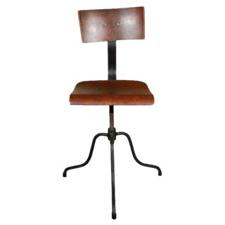 Late 19th Century Vintage Wood and Metal Adjustable Swivel Chair From France For Sale