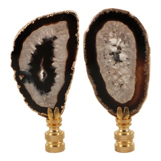 Gold Plated Agate Slice Lamp Finials - a Pair For Sale
