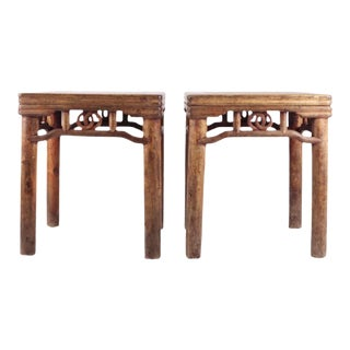 19th Century Chinese Square Stools - Pair For Sale