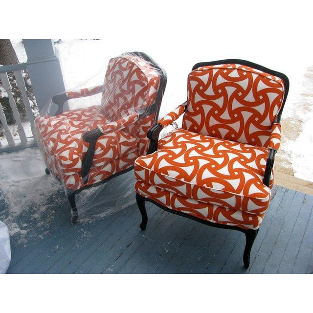 French Style Orange Bergere Chairs & Ottoman - S/3 - Image 2 of 6