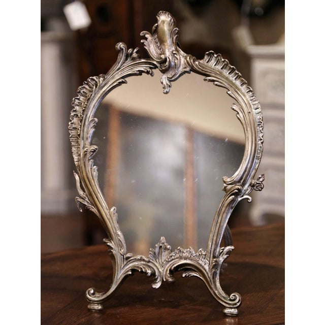 Decorate your master bath counter with this elegant antique dressing mirror. Crafted in France circa 1870, the bronze...