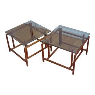 Danish Henning Nørgaard for Komfort Teak and Glass Side Tables - a Pair For Sale