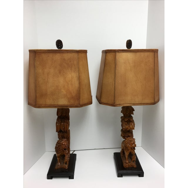 Carved Wood Lion Table Lamps - A Pair - Image 2 of 11