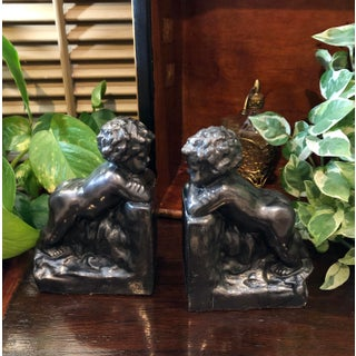 20th Century Vintage Tuscan Cast Metal Putti Angels Bookends - a Pair Preview
