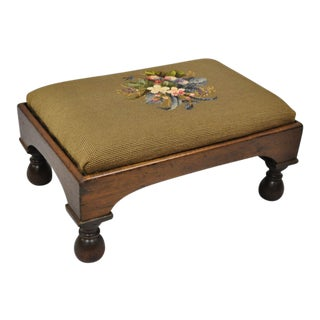 Early 20th Century Antique Victorian Empire Floral Needlepoint Ottoman For Sale