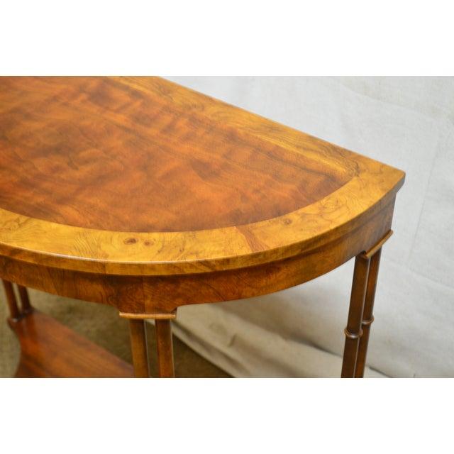 Baker Vintage Burl Wood & Walnut Demilune Console Table For Sale - Image 12 of 13