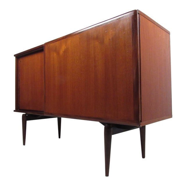 Compact Scandinavian Modern Teak Cabinet For Sale