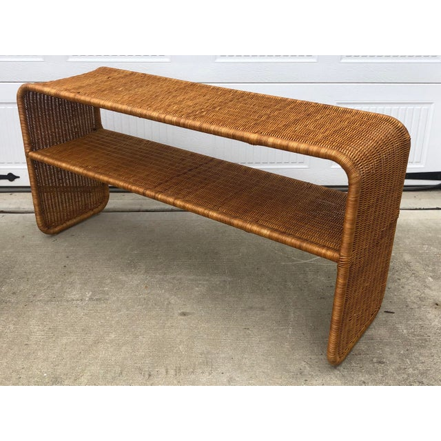 Wicker 1970s Boho Chic Woven Wicker Console Table For Sale - Image 7 of 7