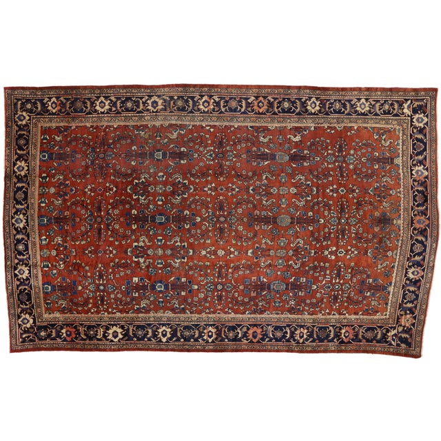1910s Antique Persian Mahal Palace Size Rug With Jacobean Style, 11'01 X 17'07 For Sale - Image 5 of 5