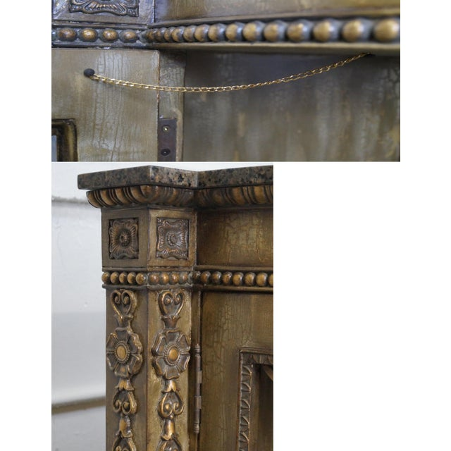Faux Painted French Style Marble-Top Sideboard with Iron Doors - Image 9 of 10