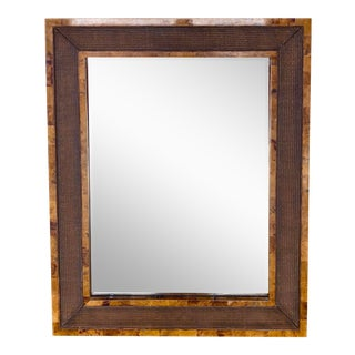 Vintage Monumental Faux Tortoise and Rattan Mirror For Sale