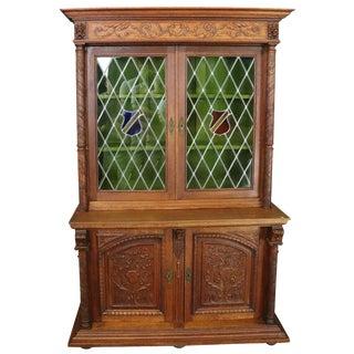 Bookcase Mechelen Renaissance Oak Vintage 1930 For Sale