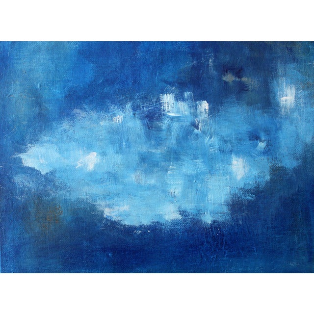 Modern Abstract Blue & White Painting - Image 1 of 4