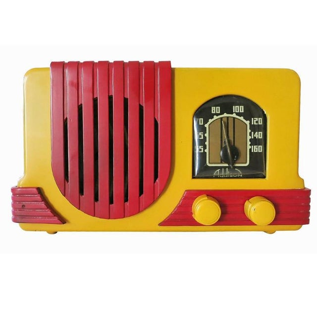 "Art Deco Addison Model Two ""Waterfall"" Red and Mustard Catalin Tube Radio For Sale - Image 3 of 9"