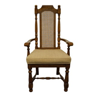 Universal Furniture Italian Provincial Cane Back Dining Arm Chair For Sale