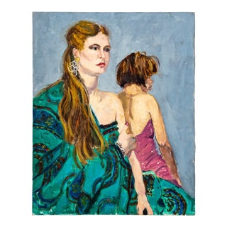Late 20th C. Vintage Bohemian Chic Women in Jewel Toned Dresses Painting By Ruth Moncher For Sale