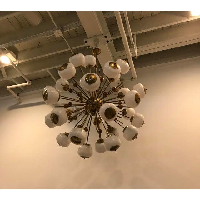 Italian Italian Brass and Glass Sputnik Chandelier For Sale - Image 3 of 11