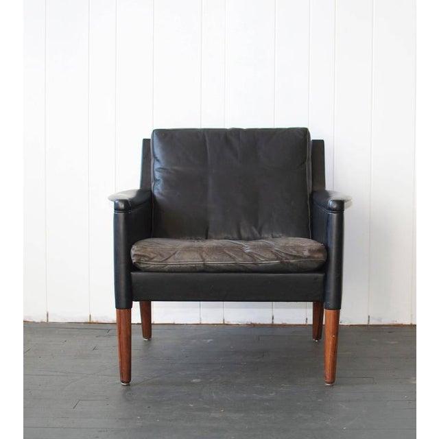 Kurt Ostervig Kurt Østervig Leather Lounge Chair and Ottoman For Sale - Image 4 of 7