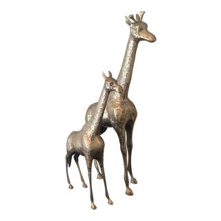 Mid-Century Brass Giraffe Mother's and Child