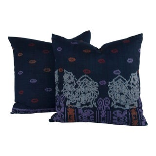 Indigo Ikat Pillows - a Pair