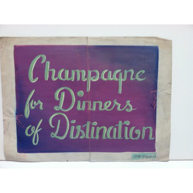 """This is an Original Painting on Parchment Paper that is titled """"Champagne for Dinners of Distinction"""" by OR. Dyson."""
