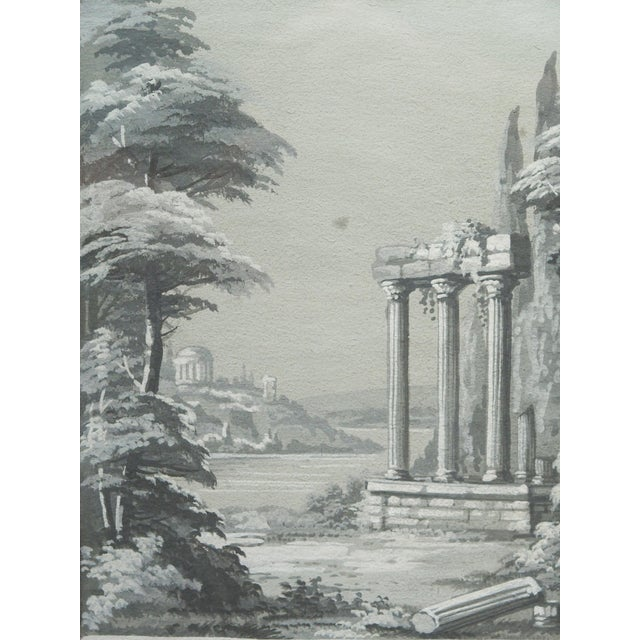 An early 19th century grisaille study for a wallpaper panel For Sale - Image 4 of 6