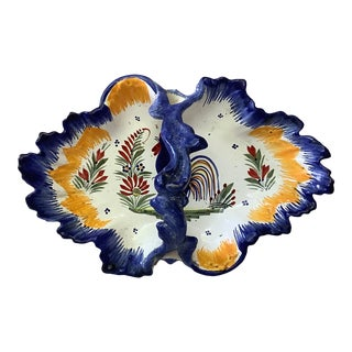 French Quimper Faience Rooster Basket For Sale